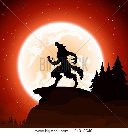 Halloween Background With Werewolf