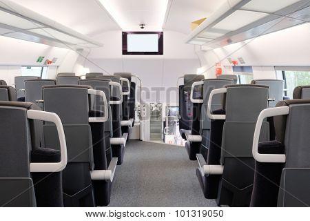 Interior of a train passenger coach