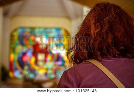 Woman Praying In An Empty Modern Church Artistic Edit With A Vignette