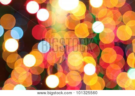 Colourful Christmas Lights Bokeh Background