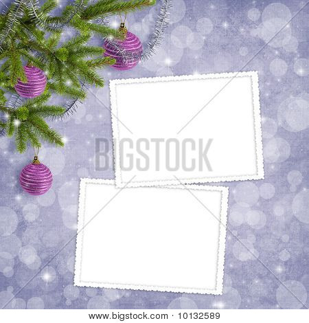 Card For The Holiday With Branches And Balls On The Abstract Background