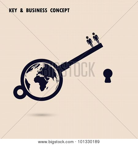 Two Businessman With World Key Symbol. Global Business Solution Concept.