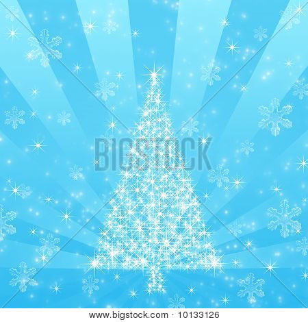 Blue Christmas Tree With Snowflake Background