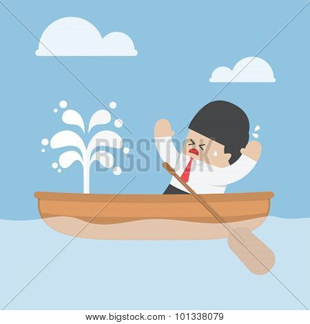Panic businessman with leaking boat VECTOR EPS10 poster