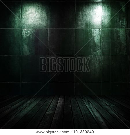 dark interior room with two spots.