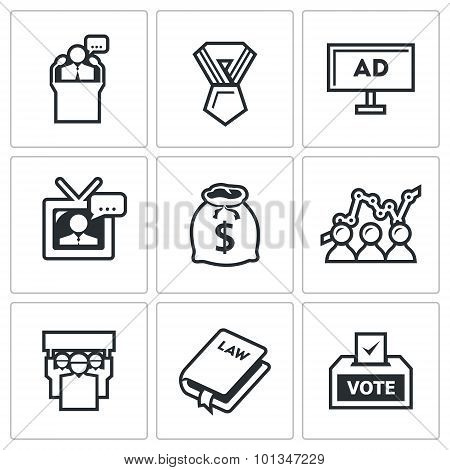 Elections Icons. Vector Illustration.
