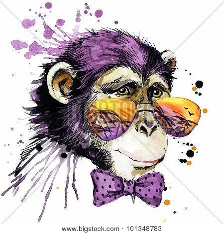 Cool monkey chimpanzee T-shirt graphics, monkey illustration with splash watercolor textured backgro