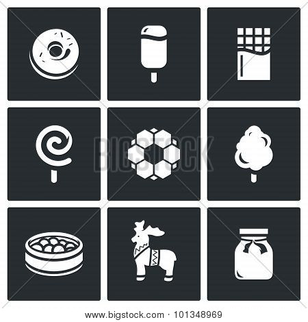 Candy Shop Icons. Vector Illustration