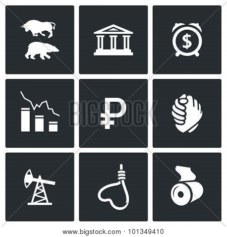 Currency Devaluation Icons. Vector Illustration.