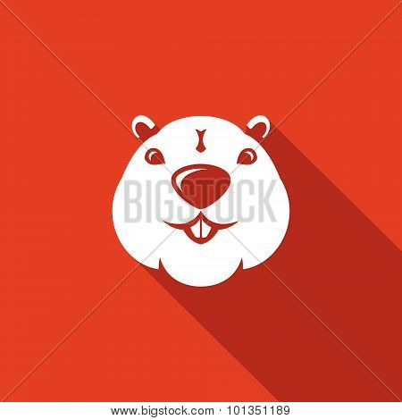 Beaver Head Icon. Vector Illustration.