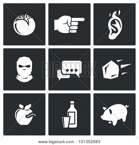 Shame, Ridicule Icons. Vector Illustration.