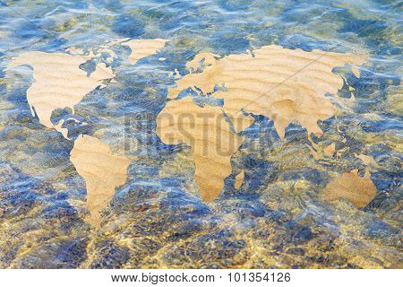 Surreal Image Of A Desertified World: Map With Sand Fill And Water Background