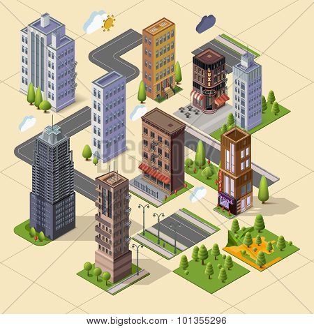 Isometric skyscrapers and office buildings houses roads