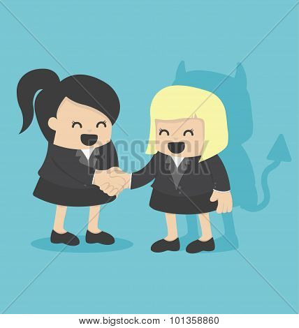 Illustration Cartoons Concepts Businesswoman Shaking Hand With Devil Shadow