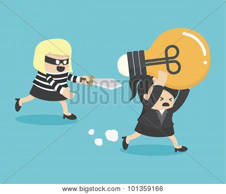 Concepts Cartoons Thief Stealing Idea Businesswom