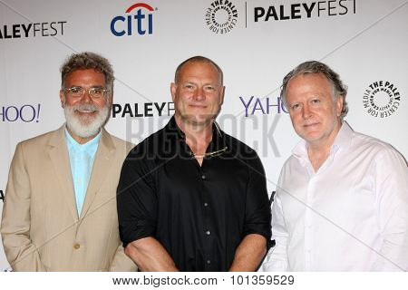 LOS ANGELES - SEP 11:  John P. Kousakis, R. Scott Gemmill, Shane Brennan at the PaleyFest 2015 Fall TV Preview - NCIS: Los Angeles at the Paley Center on September 11, 2015 in Beverly Hills, CA