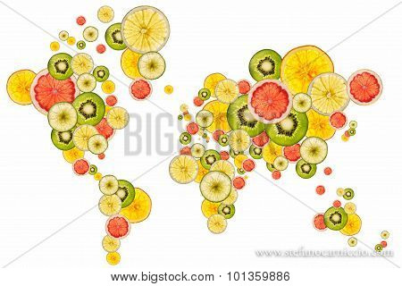 World Map Designed With Slices Of Fresh Fruits
