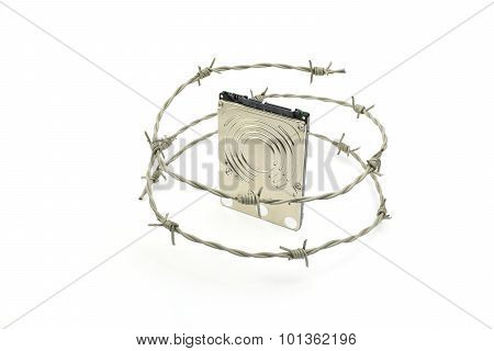 Harddisk Behind Barbwire - Illustration Of Data Security Concept