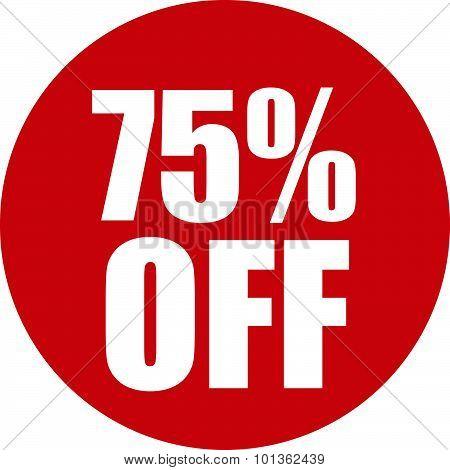 75 Percent Off Icon