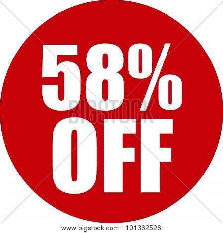 58 Percent Off Icon