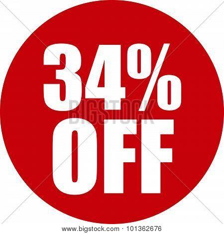 34 Percent Off Icon