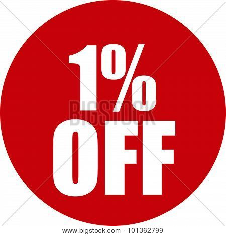 1 Percent Off Icon