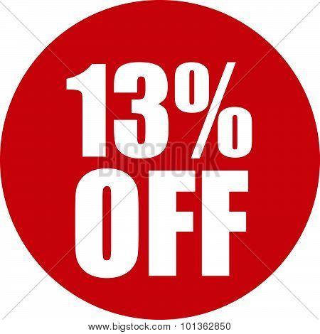 13 Percent Off Icon