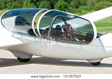 Glider Passenger In Cockpit
