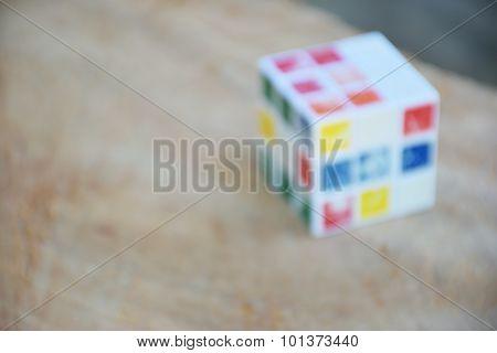 Rubik's Cube on wood table
