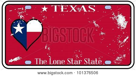 Texas State License Plate With Damage