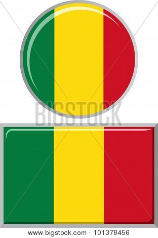 Malian round and square icon flag. Vector illustration.