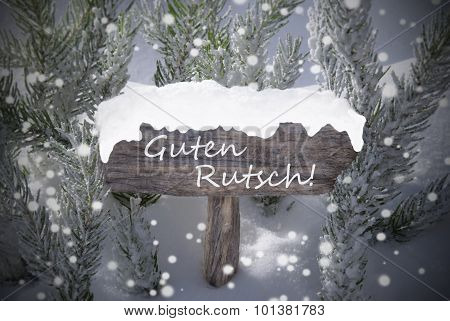 Sign Snowflakes Fir Tree Guten Rutsch Mean New Year