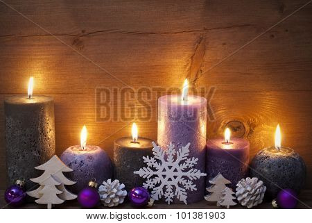 Christmas Decoration With Puprle And Black Candles, Ornament