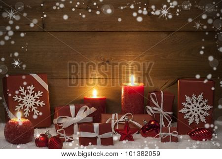Christmas Decoration, Red Candles, Presents And Snow, Snowflakes