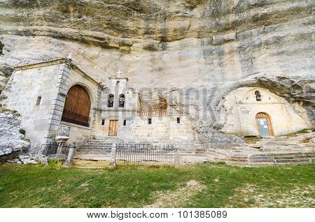 Saint Bernabe Ancient Heremitage in a cave in Ojo Guarena Burgos Spain.