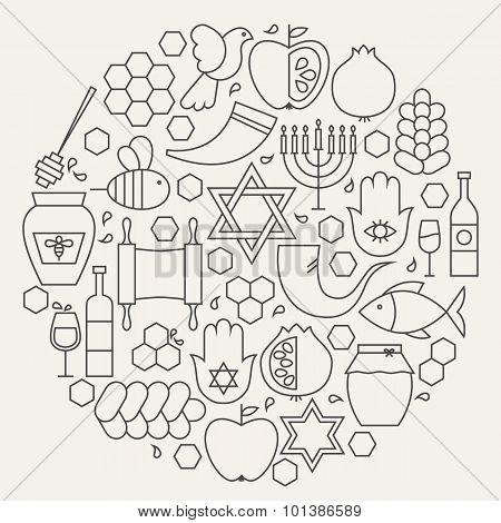 Rosh Hashanah Holiday Line Icons Set Circular Shaped