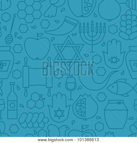Thin Line Holiday Rosh Hashanah Blue Seamless Pattern
