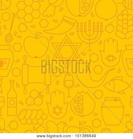 Thin Rosh Hashanah Line Holiday Seamless Yellow Pattern