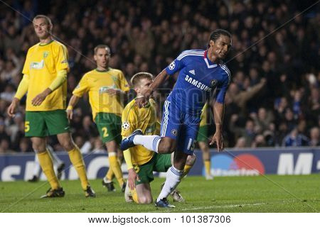 LONDON ENGLAND 23 NOVEMBER 2010. Chelsea's midfielder Florent Malouda in action during the UEFA Champions League match between Chelsea FC and MSK Zilina, played at Stamford Bridge.