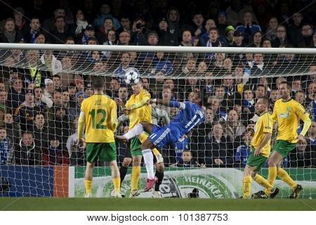 LONDON ENGLAND 23 NOVEMBER 2010. Chelsea's forward Didier Drogba  attempts an over head kick during the UEFA Champions League match between Chelsea FC and MSK Zilina, played at Stamford Bridge.