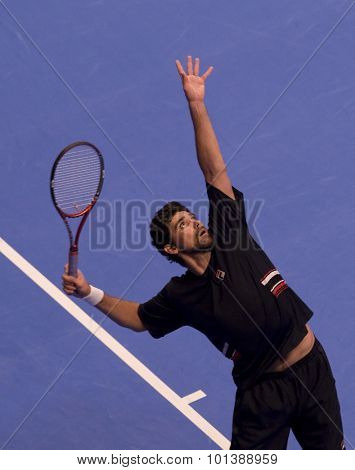 LONDON, ENGLAND. 04 DECEMBER 2009 -    Mark Philippoussis (AUS) serving the ball in his match with Younes El Aynaoui (MOR). during the AEGON Masters Tennis, Royal Albert Hall, London.