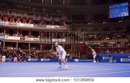 LONDON, ENGLAND. 05 DECEMBER 2009 -    A general view of the ATP Champions Tour match during the AEGON Masters Tennis, Royal Albert Hall, London.