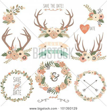 Vintage Floral Antlers Collection