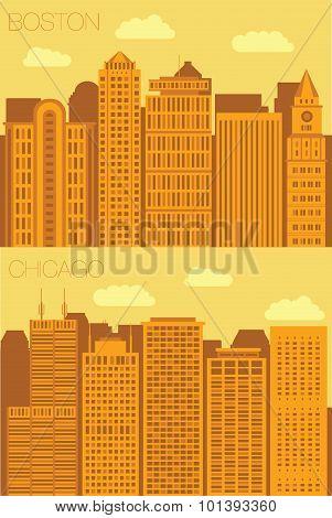 Set 2 flat background city Boston and Chicago