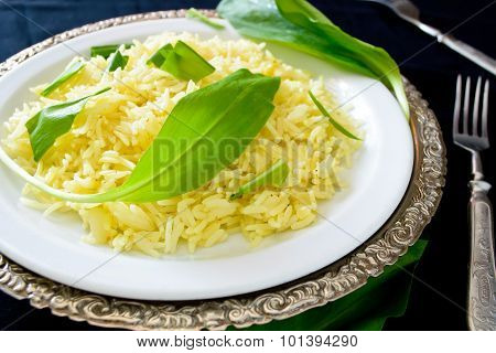 wild leek with saffron basmati rice and lemon