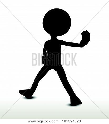 3d man silhouette isolated on white background blocking. poster