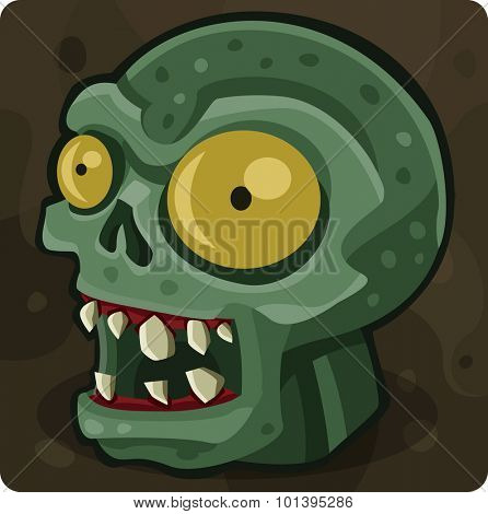 Green zombie head. Vector illustration