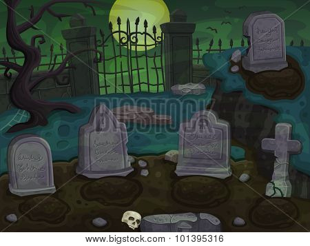 Cemetery cartoon background. Vector illustration