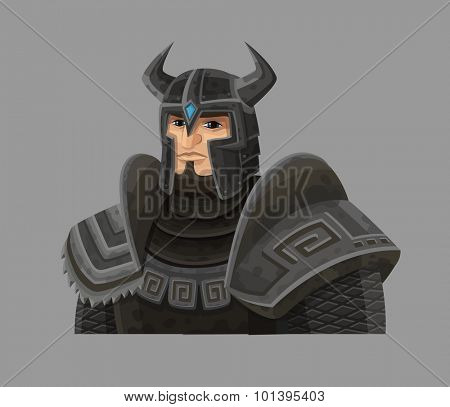 Cartoon warrior in armor. Vector illustration