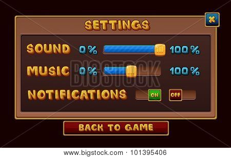 Settings interface for game. Vector illustration